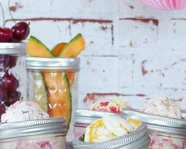 3 x Eiszauber: Kirsche-Salmiak Eis, Yellow Smoothie gezwirltes Soja Eis & Müsli-Sahne Eis mit Cranberry Sauce