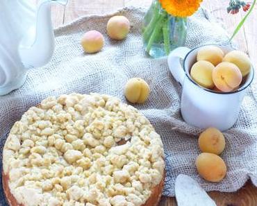 double Aprikosen Käsekuchen mit Vanille-Streuseln