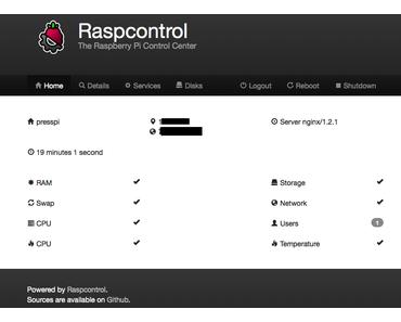 Raspberry Pi: Überblick zum PHP Browser Tool Raspcontrol