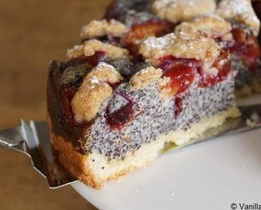 Mohn-Quarkkuchen mit Zwetschgen und Zimtstreuseln
