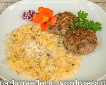 Kartoffelrisotto und Fleischküchle