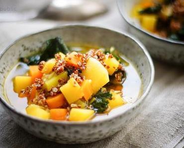 Steckrübeneintopf mit Quinoa und Safran