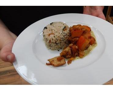 Herbstgemüse mit Currysoße und Aprikosenreis {vegan} - Kochduell auf der INFA gegen Sandro