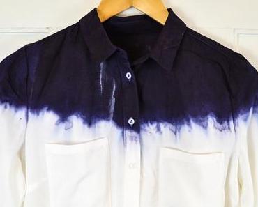 Weiße Bluse im Dip-Dye-Look #3