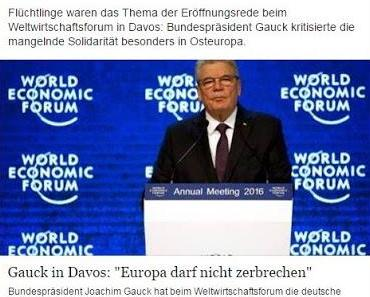 Gröfaz Gauck beweist auch in Davos seine geistige Umnachtung