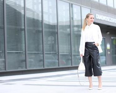 Leather culottes & bow neck blouse