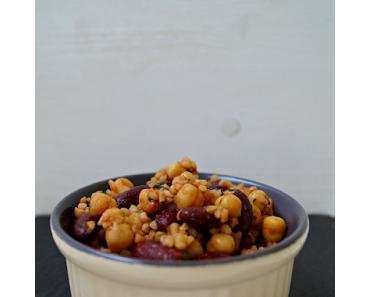 [vegan] Bulgur Salat mit Kichererbsen und Bohnen