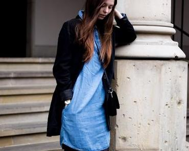 Denim Look: Jeanskleid mit Blazer