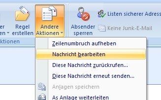 Outlook: Versendete E-Mails manipulieren