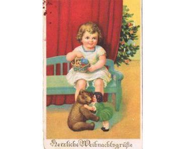 Alte Postkarten und Kinder wie gemalt