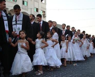 Gruppenhochzeit in Gaza: Pädosexuelle Araber heiraten Kinder