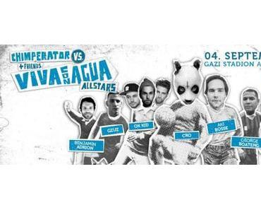 Kicken für den guten Zweck: Chimperator + Friends fordern die Viva con Agua Allstars auf der Fußballbühne heraus!