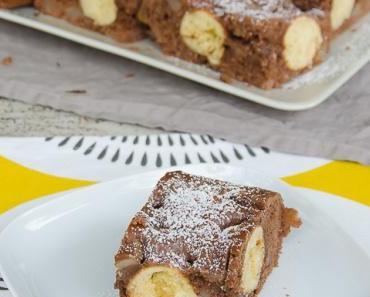 Für den kleinen Haushalt: Birne-Helene-Blechkuchen mit Überraschungspunkten (#PolkaDots)