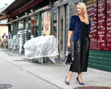 Velvet blazer & leather culottes