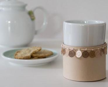 DIY Boho Leder-Manschette für Teebecher