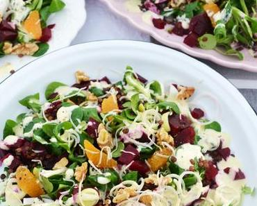 Gute Laune Teller! Bunter Wintersalat mit Linsen, Rote Rüben, Orangen und Kren-Dressing