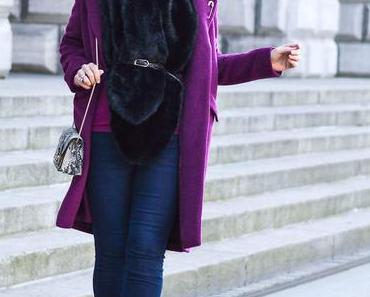 Outfit: Fake Fur, Berry Coat, Furla and ankle Booties