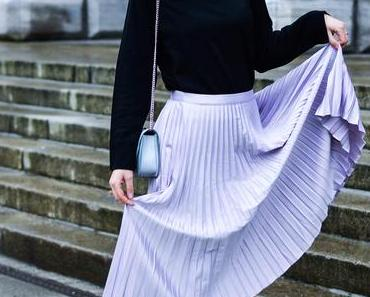 My Engagement Outfit: Metallic Pleated Skirt, Knit and Chanel Brooch