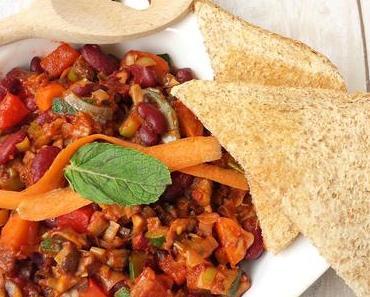 Schnelle vegane Küche    Scharfe Bohnen-Gemüse-Pfanne