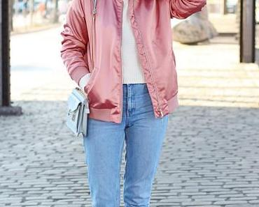 Pink Bomber and Mom Jeans