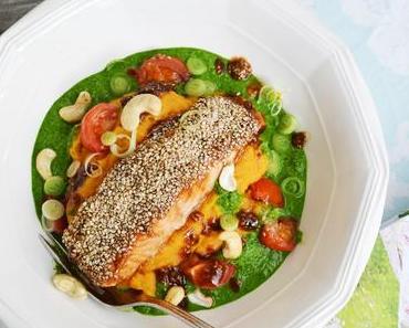 Bunt und gesund! Tamari-Sesam-Lachs aus dem Ofen mit Süßkartoffel-Linsen-Püree