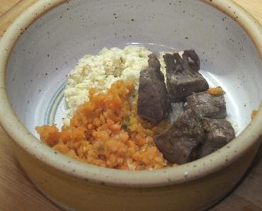 Rinderherz mit Möhren-Chicorée-Gurken-Gemüse an Hirseflocken