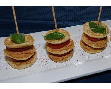 Hirseblinis mit Schafsfrischkäse-Pesto-Füllung (ovo-lacto-vegetarisch)