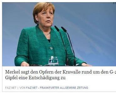 G20: Merkel verspricht den Opfern des Linksextremismus Entschädigungen