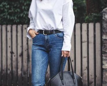 Herbst Outfit mit weißer Kent-Kragen Bluse, Noisy May Jeans und Matt & Nat Tasche