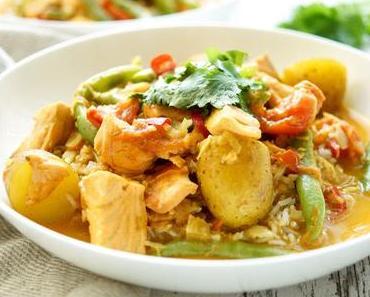 Lachsfilet in Kokos-Curry mit grünen Bohnen & Kartoffeln