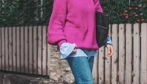 Herbst Outfit pinken Strickpullover, Fransen Pantoletten Matt Tamara Shopper