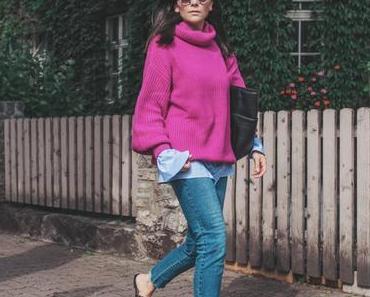 Herbst Outfit mit pinken Strickpullover, Fransen Pantoletten und Matt & Nat Tamara Shopper