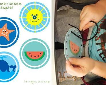 {DIY für Kinder} Sommerliches Fädelspiel – Freebie