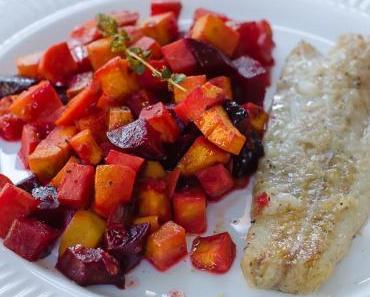 Freitagsfisch mit Rote Bete-Süsskartoffel-Apfel Ofengemüse
