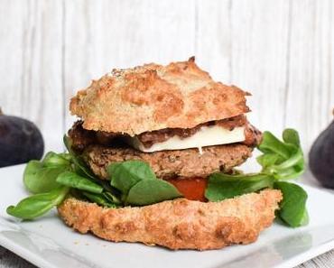 [Rezept] vegetarischer Burger mit Walnussbratling, Ziegenkäse und Feigen