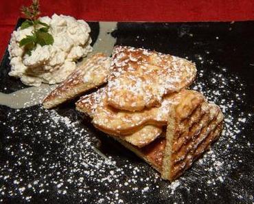 Süße Waffeln mit Birnenschaum (ovo-lacto-vegetarisch)