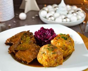 Sauerbraten in Lebkuchensauce mit Laugenknödeln und Blaukraut – Fränkisches Weihnachtsdinner