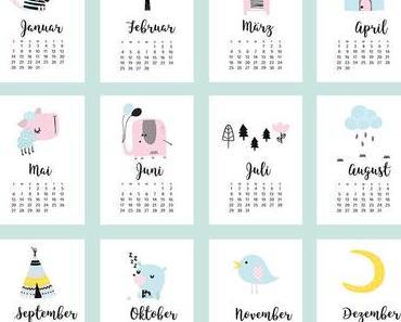 Jahres Kalender zum Ausdrucken – mit niedlichen Motiven