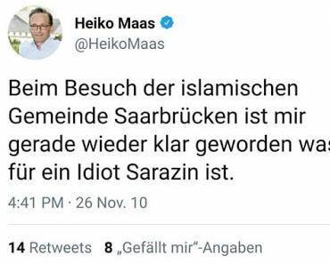 Zur Erinnerung: Bundesjustizminister nennt Islamkritiker und Befürworter der freiheitlich-demokratischen Grundordnung einen Idioten