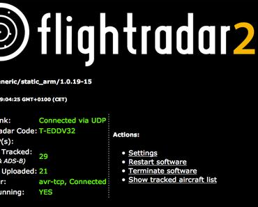 Beluga Airbus A300 mit Raspberry Pi getrackt view via Settingssite von flightradar24 Feeder (dump1090)