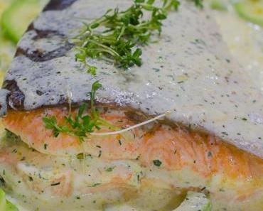 Freitagsfisch: Gebackener Lachs mit Gurken in Sahnesauce #Irland