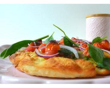 Vegan gratinierte Pfannen-Pizza mit Spinat