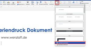 kann Word Deckblatt einem Seriendruck Dokument eingefügt werden, einmal gedruckt wird?