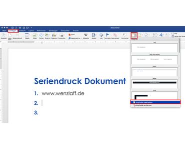 Wie kann mit Word ein Deckblatt in einem Seriendruck Dokument eingefügt werden, das nur einmal gedruckt wird?