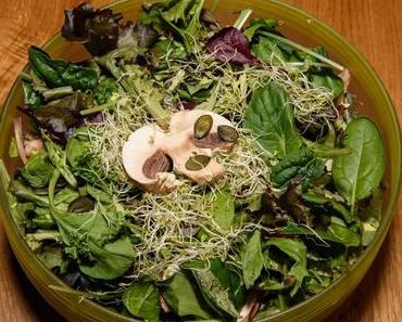 Gemischter Blattsalat mit Stangensellerie (vegan)
