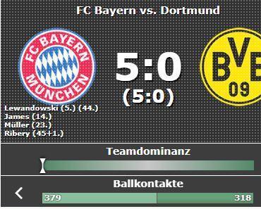 Bayern vs. Dortmund Halbzeitstand 5:0