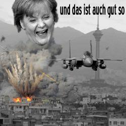 """Noch mehr Bomben auf Syrien. Angela Merkel CDUCSU: """"... und das ist auch gut so ..."""""""