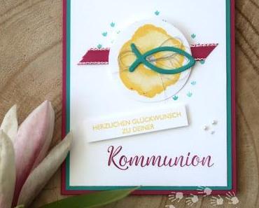 Glückwünsche zur Kommunion mit der neuen Farbe Ananas