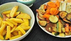Sommerküche: Ofengemüse selbstgemachten Pommes Crème Fraîche