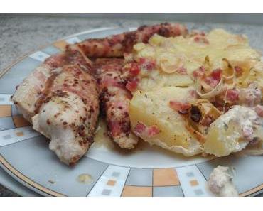 Ofenkartoffeln mit Hähnchensticks